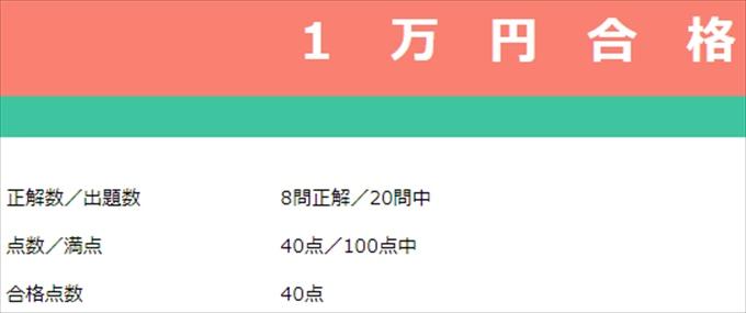 1万円獲得テスト合格